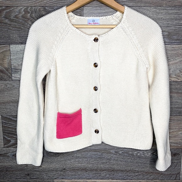 Girl's Hanna Andersson Cream Knit Cardigan
